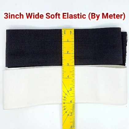 "3"" Black Soft Elastic / Getah Industri (Lembut) - By Meter"