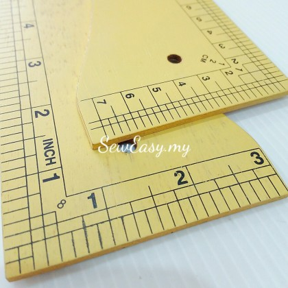 GRED A Pembaris Sesikui Kayu / Right Angled Ruler (Wooden made)