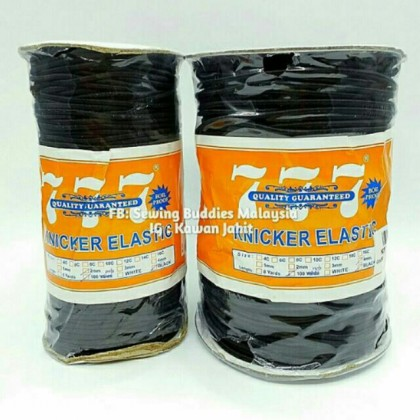 777 BLACK Round Knicker Elastic 2mm, 3mm & 4mm (100ELA)